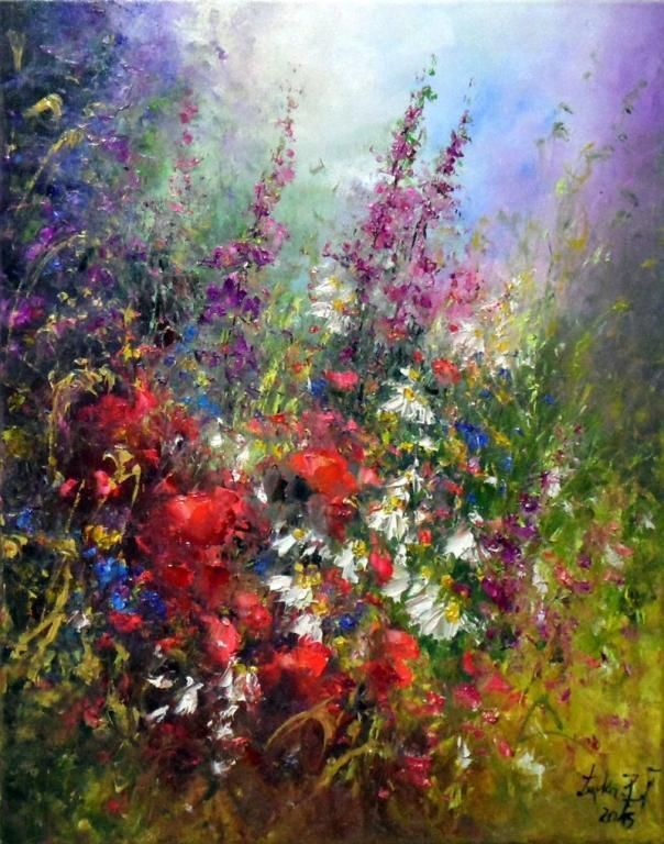 Wild Flowers Meadow Impression IMPASTO Original Oil Painting RED POPPIES Artist #Impressionism
