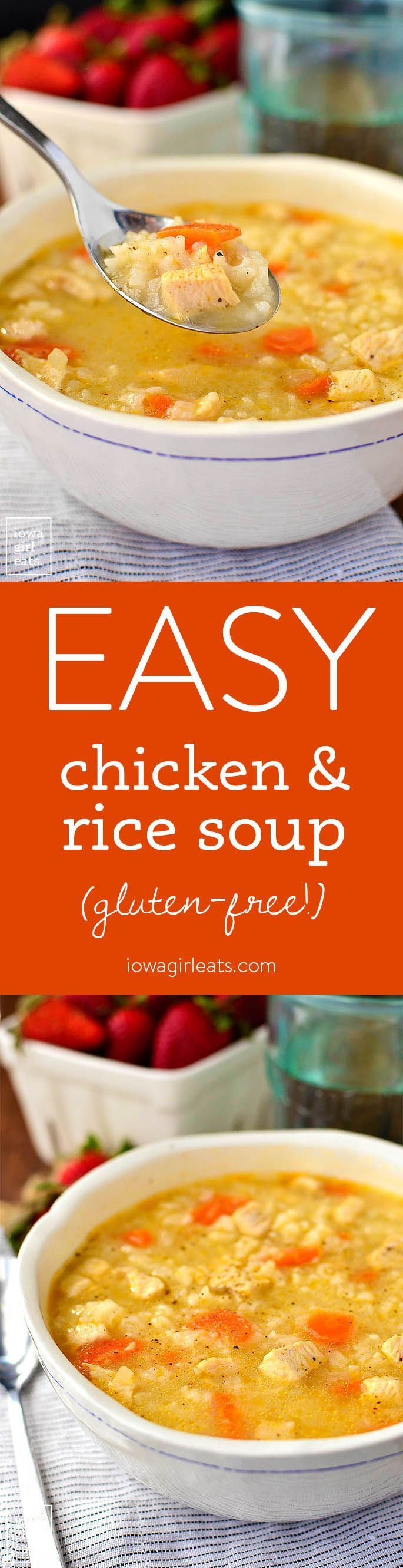 Easy Chicken and Rice Soup is a quick and easy gluten-free soup recipe that the entire family will love. Healthy comfort food in a bowl! | http://iowagirleats.com