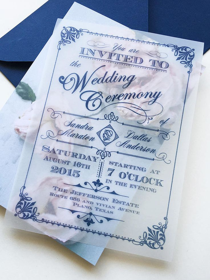 Add a little extra charm to your wedding invites with translucent, DIY vintage rose backing. Use classic calligraphy in the forefront for a chic finish!