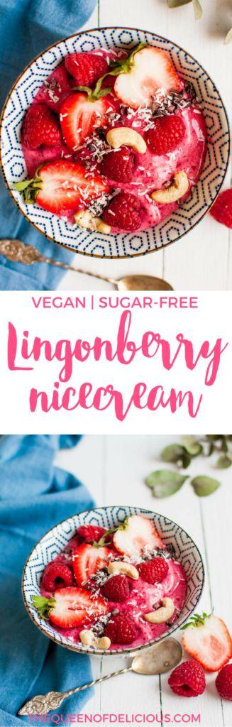 Vegan & Sugar-free Lingonberry Nice Cream | Vegan Icecream | Sugar-free Recipe | Healthy | Paleo