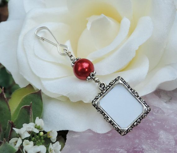 Winter Wedding Groomsmen Gift Ideas : Winter Wedding bouquet photo charm. Memorial by SmilingBlueDog