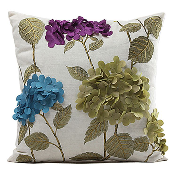 "Find More Cushion Cover Information about Fashion 3D Embroidered Flower Polyester White Decorative Sofa Bed Home Car Throw Pillow Cover Pillow Cushion case 18"",High Quality Cushion Cover from Levocook on Aliexpress.com"