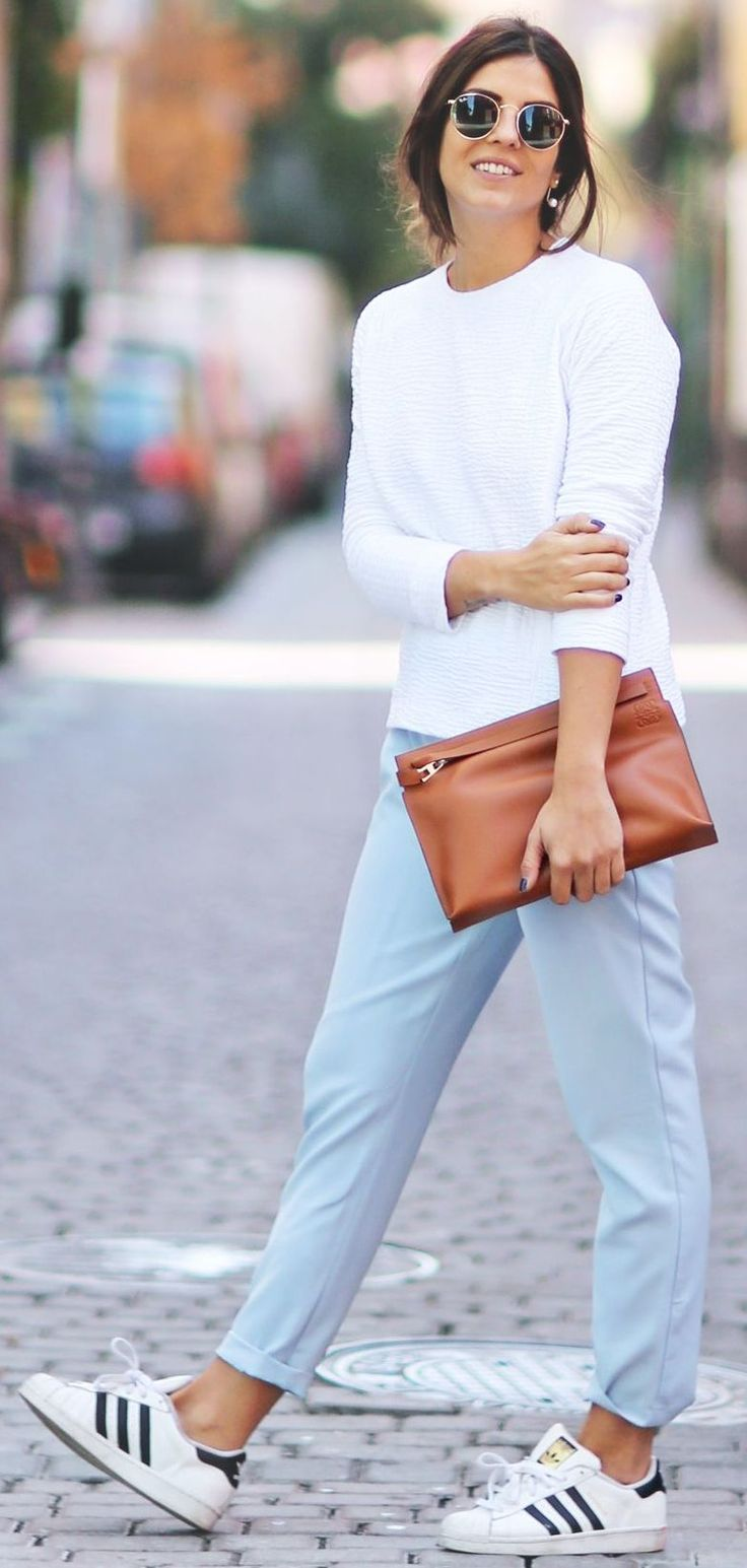Baby Blue And White Sporty And Soft Fall Streetstyle Inspo by TrendyTaste