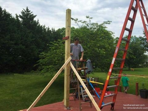 Installing 6x6 Posts Using 2x4 S For Temporary Bracing Diy