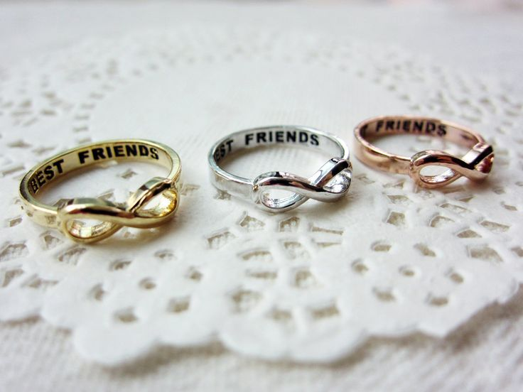 Best Friends Lettered Infinity Ring 3 Color by SEMOstories on Etsy, $12.50 these are really cute for friends! I have so many friendship necklaces it would be cool to switch it up...