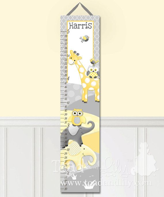 Boys Bedroom Baby Nursery Yellow and Grey Jungle by ToadAndLily