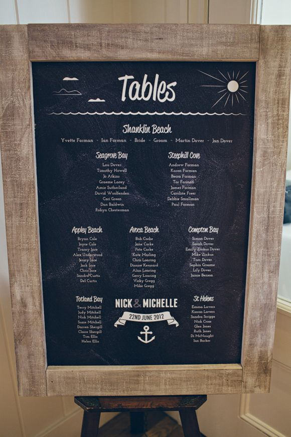 Nautical, beach theme, chalk and blackboard DIY wedding table plan {made by the groom!}