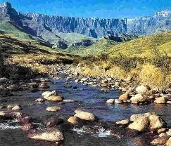 The Tugela River (Zulu: Thukela) is the largest river in KwaZulu-Natal Province South Africa - the river originates in the Drakensberg Mountains - Mont-aux-Sources and plunges 947 metres down the Tugela Falls - from the Drakensberg range the river follows a 502 kilometres (312 mi) route through the KwaZulu-Natal Midlands before flowing into the Indian Ocean - the total catchment area is approximately 29,100 square kilometres (11,200 sq mi) ...