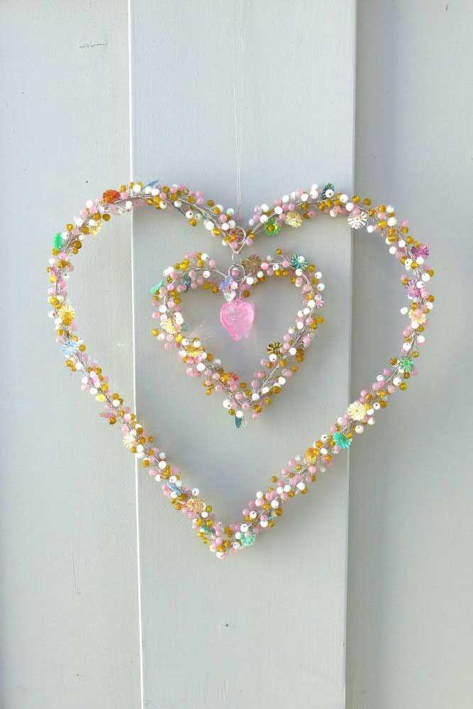 Perlen Draht Herz, Fensterdeko,
