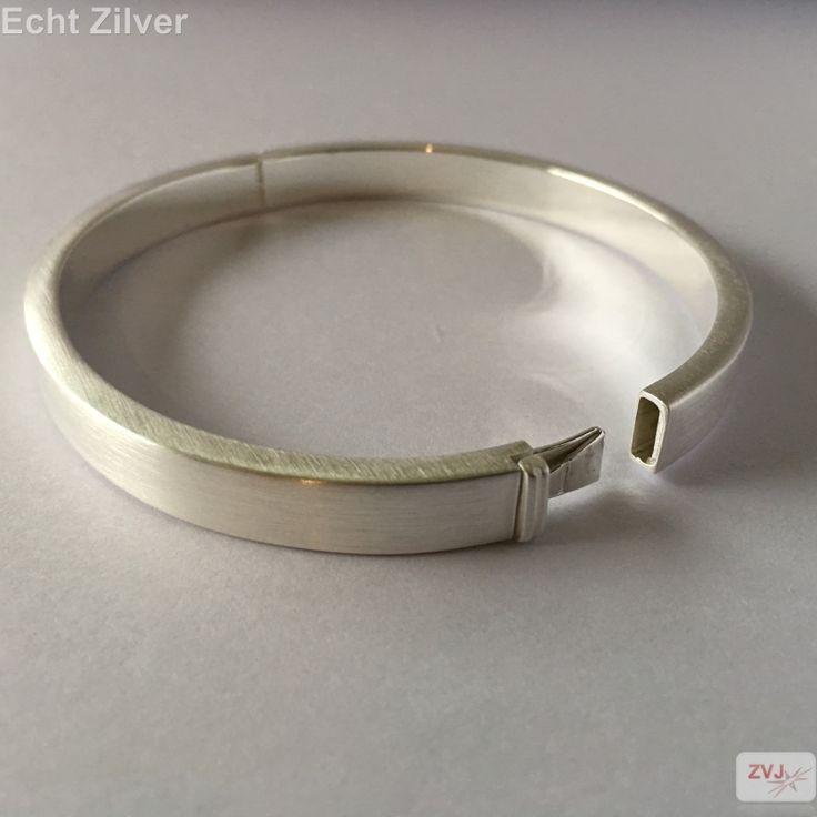 Zijdemat zilveren luxe strakke slavenarmband 7mm breed - ZilverVoorJou Echt 925 zilveren sieraden