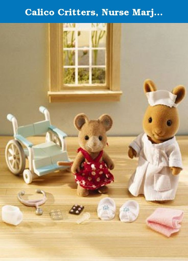 Calico Critters, Nurse Marjorie Bunny Helps Morgan Mouse. Nurse Marjorie loves taking care of all the children in Cloverleaf Corners! Today she is helping Morgan, who seems to have hurt her leg. Nurse Marjorie is putting a cast on Morgan's leg so that it can heal and she can feel better in no time! Includes: Marjorie Bunny in nurse uniform and cap, Morgan Mouse in dress, wheel chair, stethoscope, leg cast, plastic needle, 2 packets of medication, blanket and a pair of shoes.