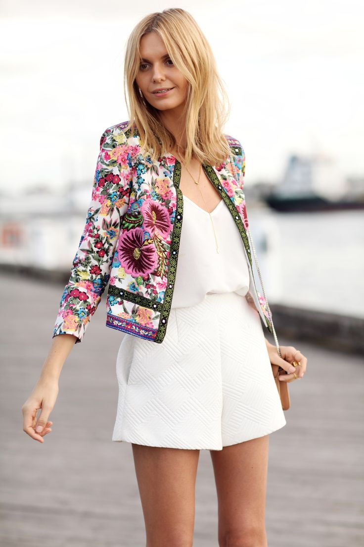 ASOS floral embroidered jacket, ASOS cami, ASOS high waisted shorts