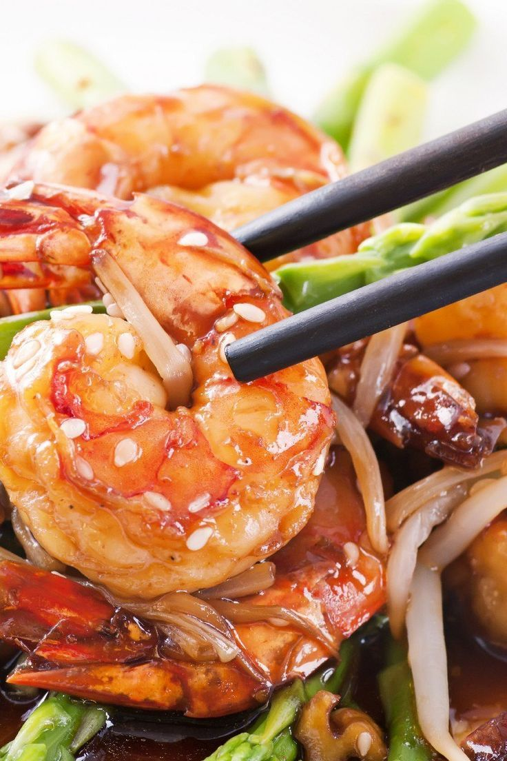 Garlic Shrimp With Asparagus Dinner Recipe With Red Pepper Flakes