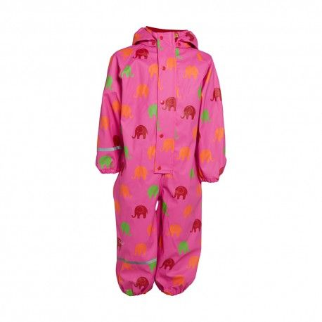 Rainsuit One piece without lining, pink with elephants, Celavi