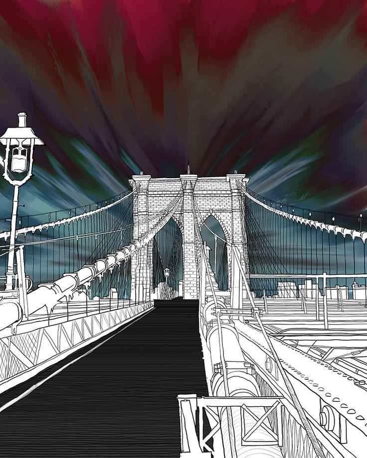 Brooklyn Brige_Materials: canvas, digital print, computer graphic Category: Digital Original size: (h) 90.0 * (w) 72.0 cm Printing at a canvas frame