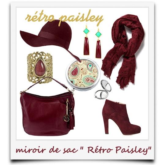 """j'ai du style avec le miroir fantaisie """"Rétro Paisley"""""""