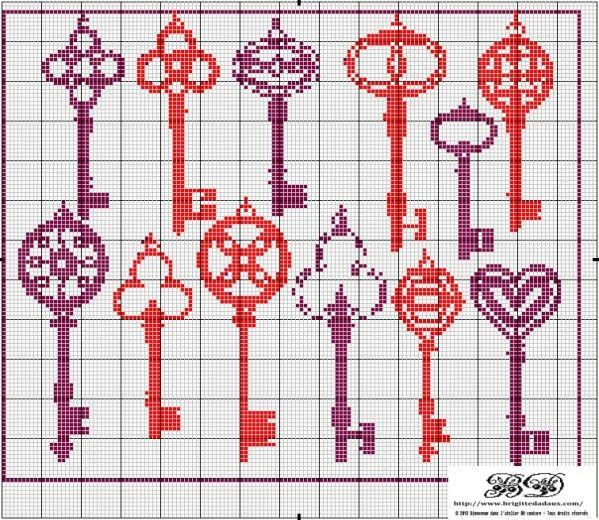 Old keys, found on : http://ddata.over-blog.com/xxxyyy/1/17/48/03/clefs-grille-point-de-croix-Brigitte-Dadaux.pdf