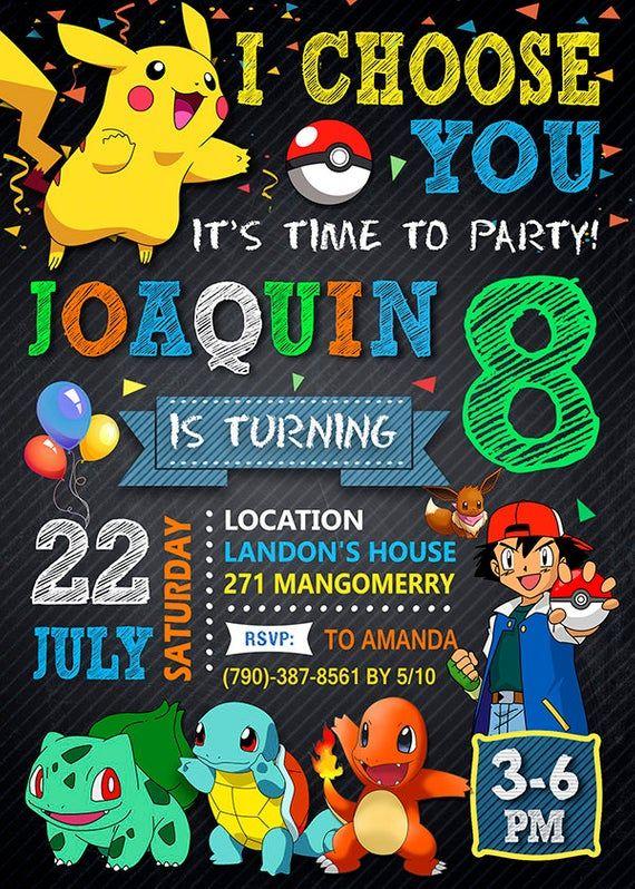 Pokemon Vaya Invitacion Invitacion De Pokemon Cumpleanos Etsy Pokemon Birthday Invites Pokemon Themed Party Pokemon Birthday