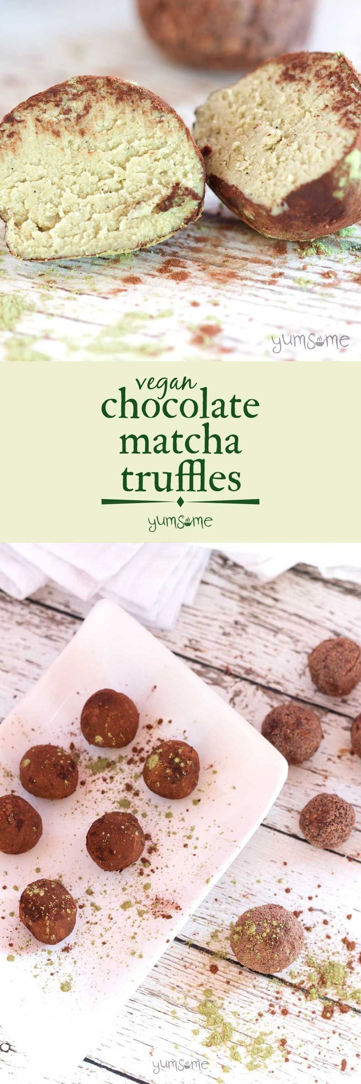 These #cashew-based #vegan #chocolate #matcha #truffles are light and creamy, with a delicately refreshing #green #tea flavour. They're so decadent! | yumsome.com via @yums0me