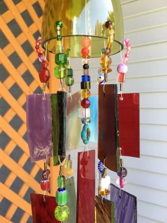 Stained Glass Wind Chime Sun Catcher Upcycled Wine Bottle Top.