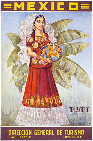 Tehuantepec, Mexico. This vintage Mexican travel ad shows a woman in traditional dress holding a bowl of fruit. Circa 1940s.