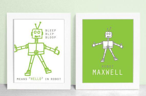 Robot Prints Set - Robot Nursery Art - Baby Boy Robot Decor 8x10 Robots Kids Room Robot Wall Art - Pewter / Leaf Green Shown on Etsy, $30.00