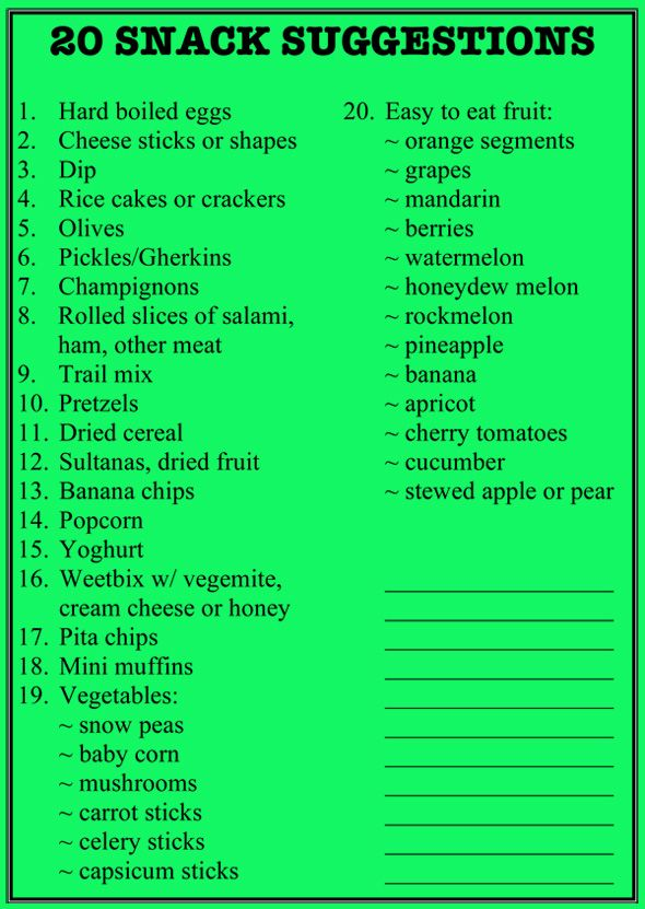 20 Lunch Box Snack Suggestions. Printable list to hang in your pantry.