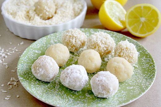 lemon balls gf/df  •1 1/2 cup almond flour  •1/3 cup organic coconut flour  •1/2 teaspoon pink himalayan salt  •1 - 2 tablespoon organic maple syrup (or raw honey for non-vegan)  •3 lemons (juiced)  •2 teaspoons organic vanilla  •1/4 cup organic coconut oil (melted/liquid)