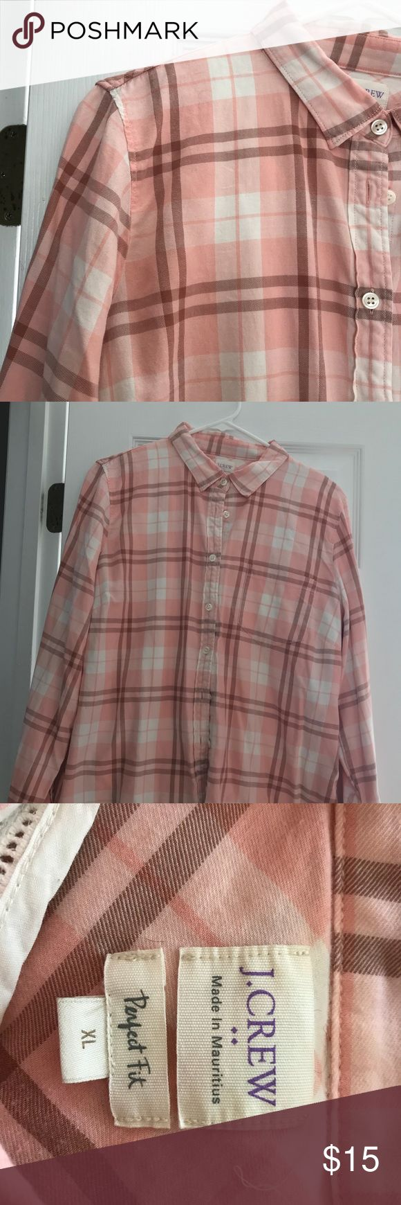 J Crew Flannel Shirt Soft, cozy J Crew Ladies flannel shirt. Gently used, plenty of life left. No stains, no holes, 🐶 friendly home. J. Crew Tops Button Down Shirts