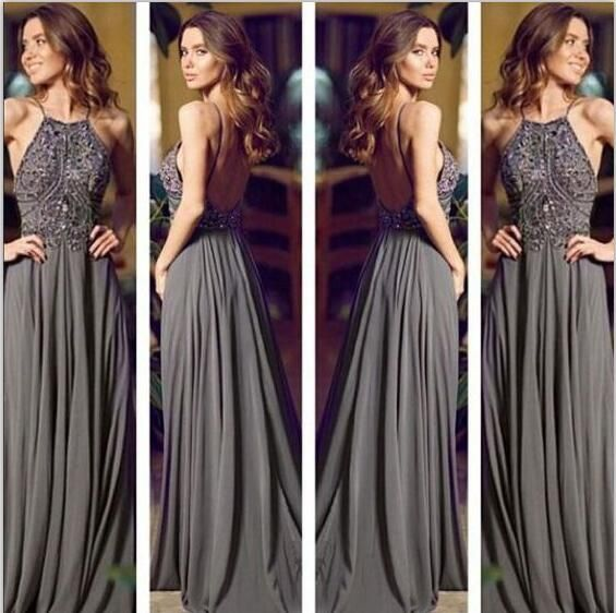 Long prom dress, grey prom dress, backless prom dress, chiffon beading prom dress, inexpensive prom dress, elegant prom dress, evening dress, 15075
