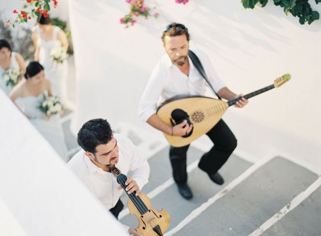 Greek Musicians escort Bridal Party to the ceremony area. Wedding by Stella & Moscha. Photo by Jen Huang