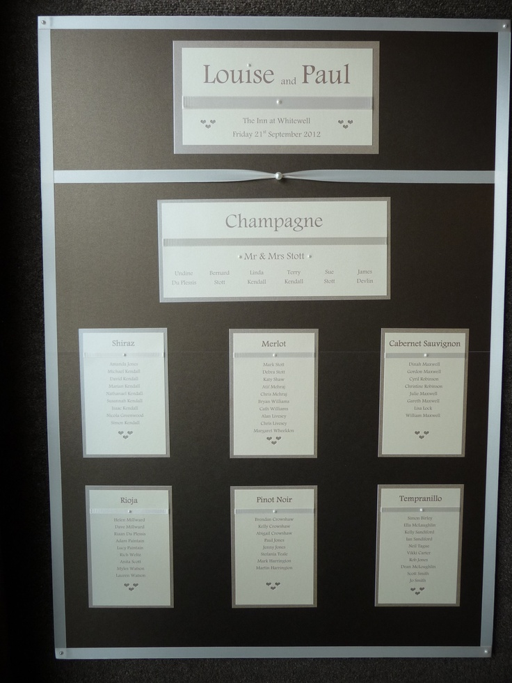 Classic Chocolate & Ivory style Wedding Table Plan