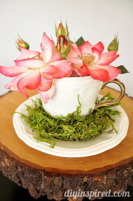 Mad hatter tea cup centerpiece idea for a baby or bridal