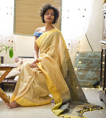 Linen Sarees - Handloom Cotton Linen Beige Grey And Yellow By SuTa PC 21183 - Thumbnail