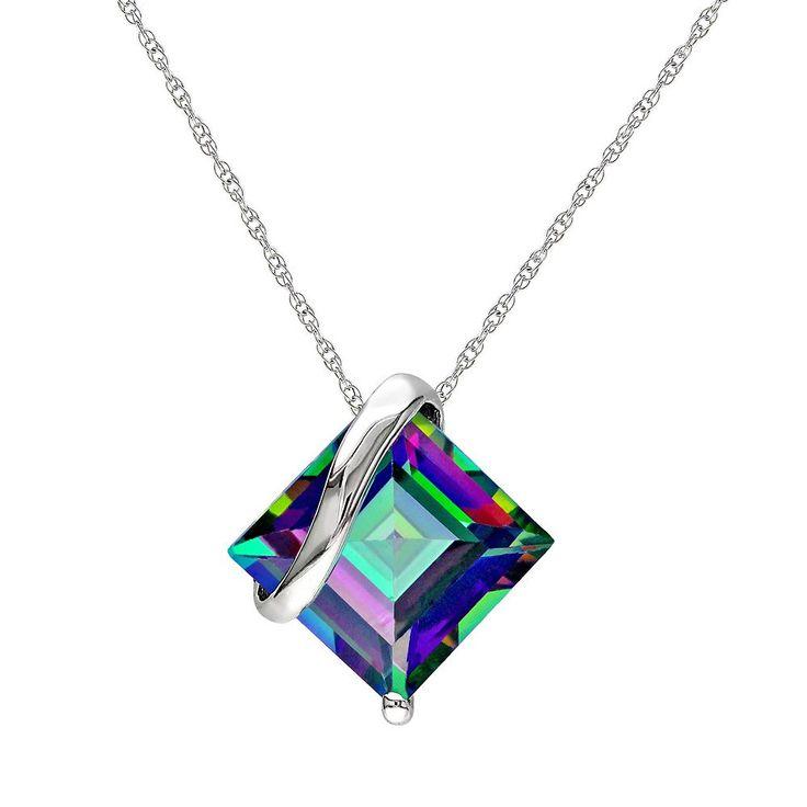 "Exotic Green Topaz 10k White Gold Pendant Necklace, Women's, Size: 17"""