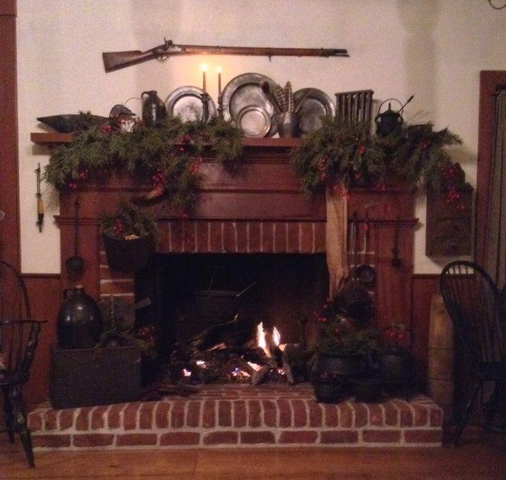 Christmas Fireplace Primitive Mantle Ideas Rustic Charm Fireplaces Primitives Folk Art Screens