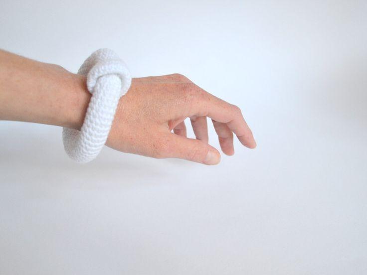 Minimal bracelet - white crocheted bangle bracelet - fiber art jewelry - modern crochet - pinned by pin4etsy.com