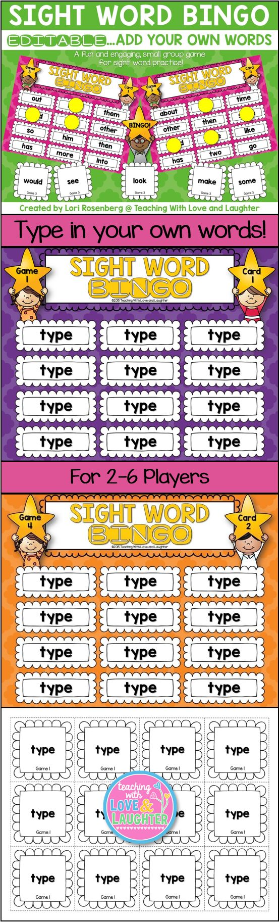 EDITABLE Sight Word Bingo
