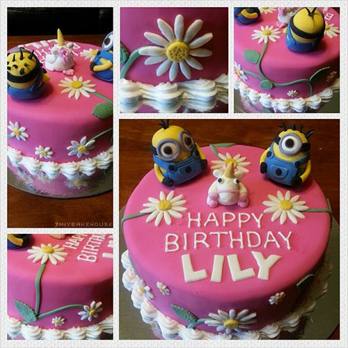 Despicable Me Birthday Cake - Chocolate mud cake covered with pink fondant and decorated with flowers. The cake is topped of with figurines of characters from the movie Despicable Me.