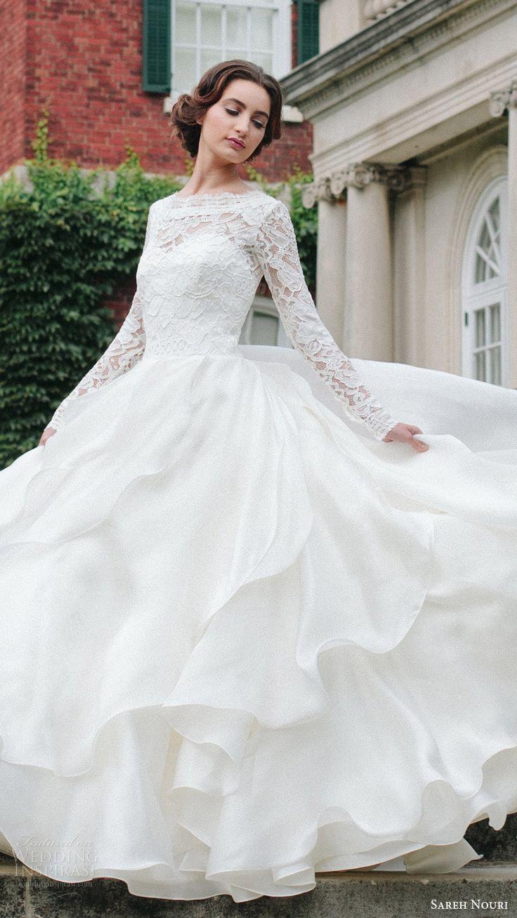 sareh nouri bridal fall 2016 long sleeves sweetheart illusion jewel neck a line ball gown wedding dress (mona lisa) fv elegant romantic #ballgown #wedding #weddingdress
