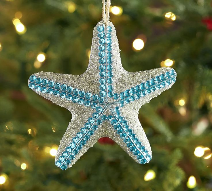 Blue Sparkle Starfish Ornament Coastal Christmas Decor