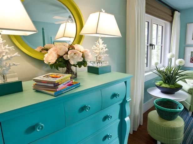 Update a tired dresser with a coat of Paradise Blue paint. (http://www.hgtv.com/dream-home/hgtv-dream-home-2013-twin-suite-bedroom-pictures/pictures/page-6.html?soc=Pinterest)