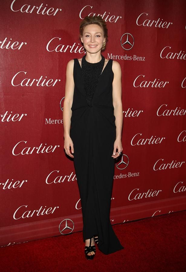 Juliet Rylance in textured Balenciaga draped dress  at the 2014 Palm Springs Film Festival Awards Gala | Trend 911
