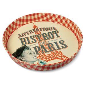 Breng de sfeer van een Franse bistro in huis en serveer je lekkere drankjes en hapjes op deze metalen plateau.