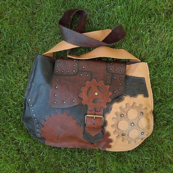 Steampunk leather bag, patchwork leather messenger bag, steampunk shoulder bag, brown genuine leather shoulder bag, steampunk gear bag