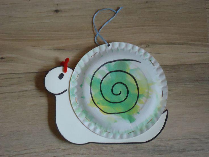 Slak:Variatie op een idee van pinterst. Gebruik twee bordjes zodat er een echt huisje ontstaat. Met nietjes vastnieten: lijm laat na een poosje los! Bordjes zijn beschilderd met waterverf. De voelsprietjes zijn van een stukje pijpenrager gemaakt.
