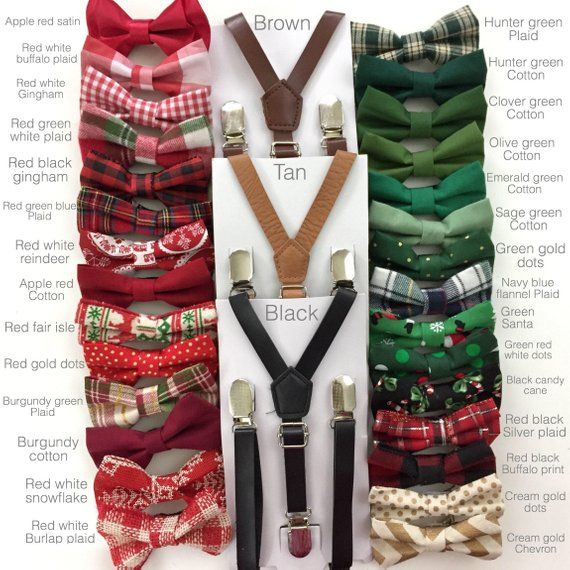 Holiday Christmas Suspenders Bow Tie Set Reindeer Xmas Tree Candy Cane Green