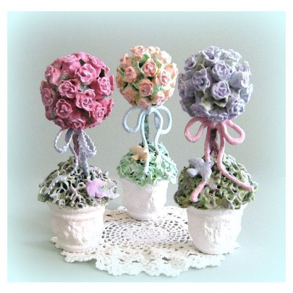 Rose Flower Topiary Tree Shabby Chic Decor Cottage Chic Decor Clay... ($25) ❤ liked on Polyvore featuring home, home decor, purple centerpieces, rose home decor, purple home accessories, blue home accessories and rose centerpieces