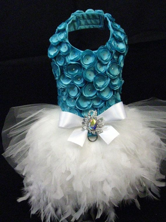 Tiffany Blue Rosette Dog Harness Dress by KOCouture on Etsy