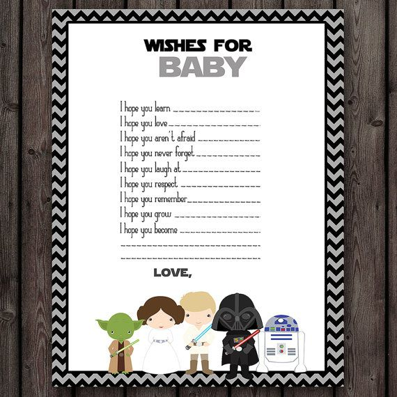 starwars baby shower wishes for baby, star wars baby shower game, instant download at purchase